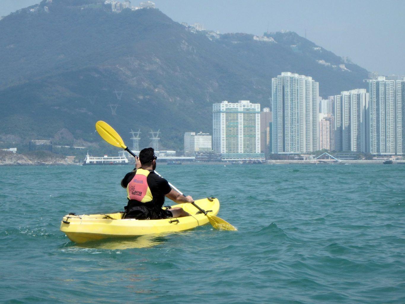 kayaking passed Hong Kong Island