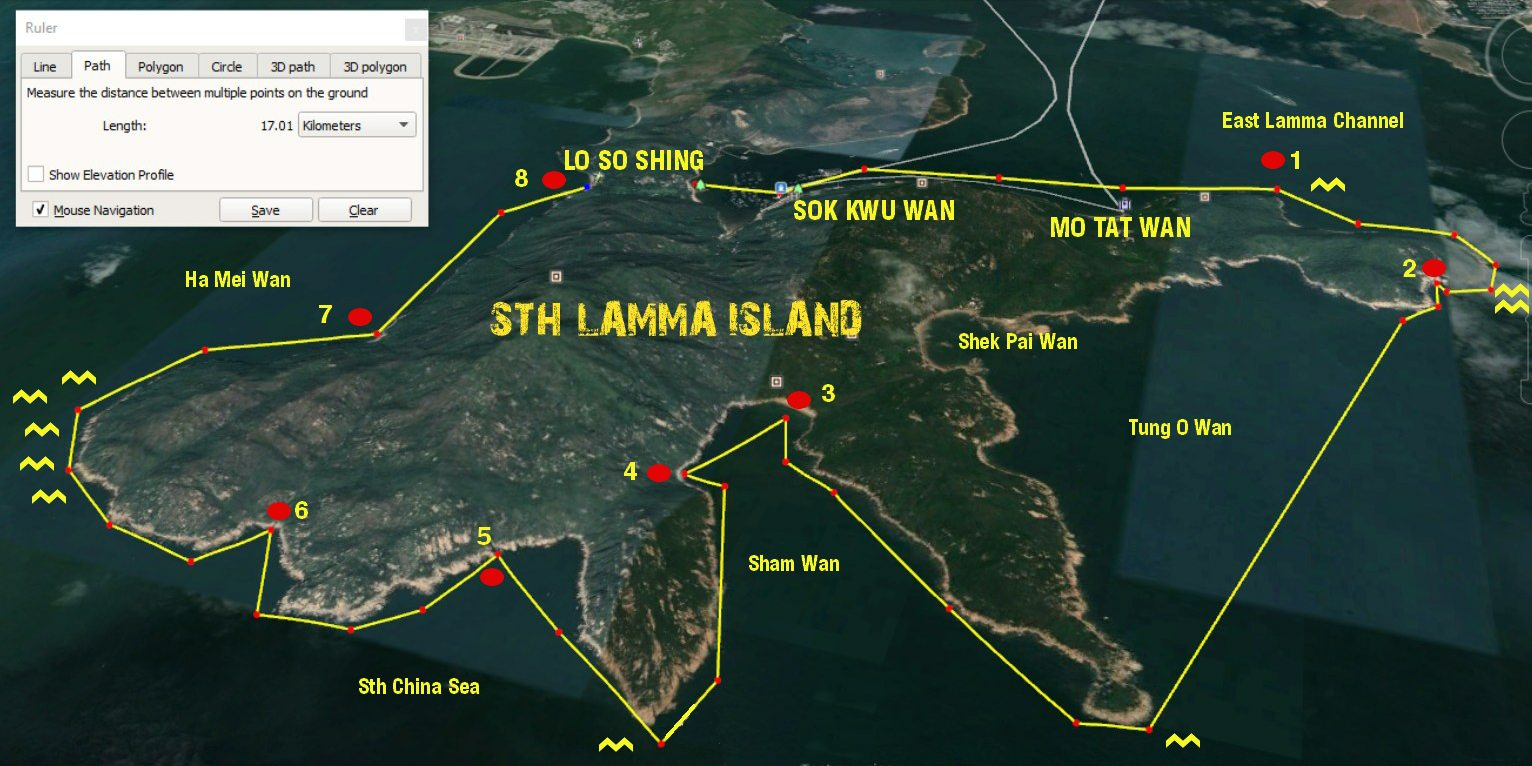 STH lamma island sea kayak route map
