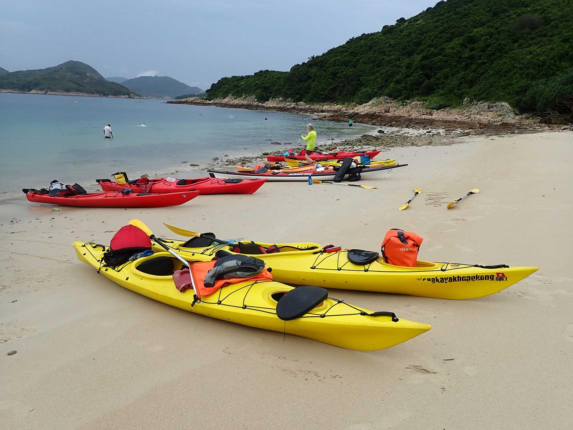 ocean tourer sea kayakson a beach