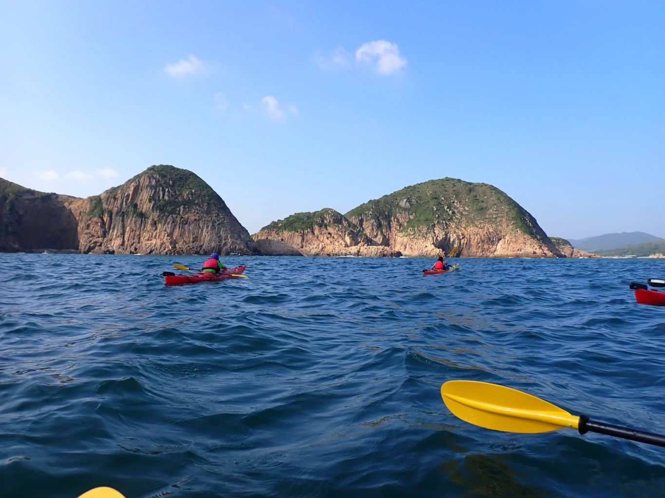 sea kayaking around bluff island